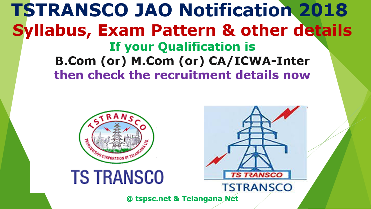 TSTRANSCO JAO Notification 2018 Syllabus
