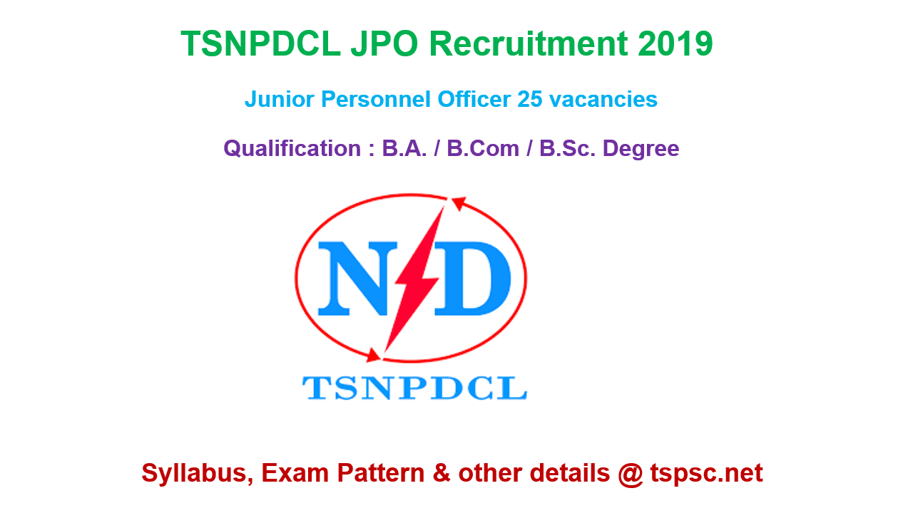 TSNPDCL JPO Recruitment 2019 Syllabus Exam Pattern of Junior Personnel Officer